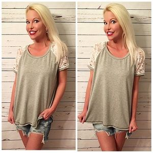 Love this! lace contrast light French Terry top!