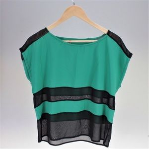 Pinky Tops - Green and Mesh Black Flowy Top