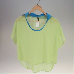 Pinky Tops - Sheer Lime Green & Blue Collar High-Low Top