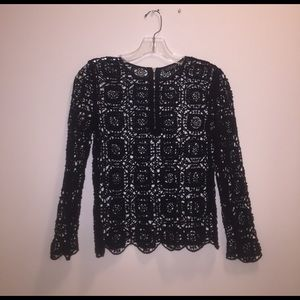 Topshop black patterned woven top (see through)