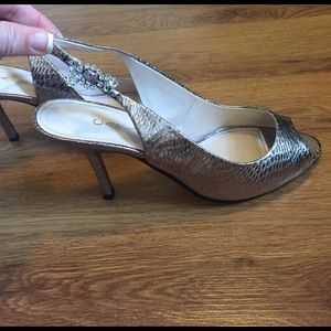Caparros Shoes - Caparros Metallic Slingback Peep Toe Pumps