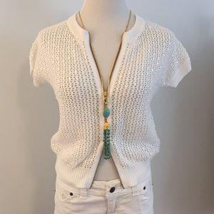 White sequin knit cardigan gold zipper