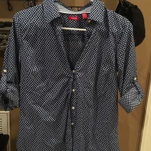 Blue print izod dress shirt worn once great condit