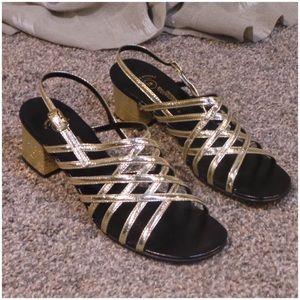 Vintage gold strappy sandals size 7