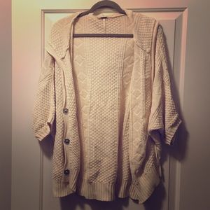 Free People Oversized Knit Hooded Sweater