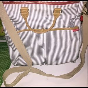 Skip Hop Handbags - Skip Hop stripped crossbody Diaper Bag