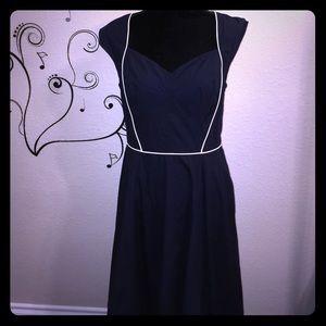 eShakti Vintage Inspired Navy & White Dress