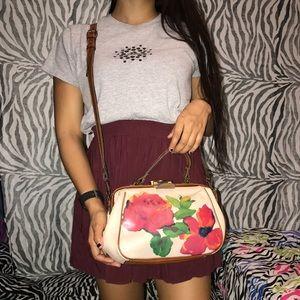 Vintage leather floral shoulder bag 
