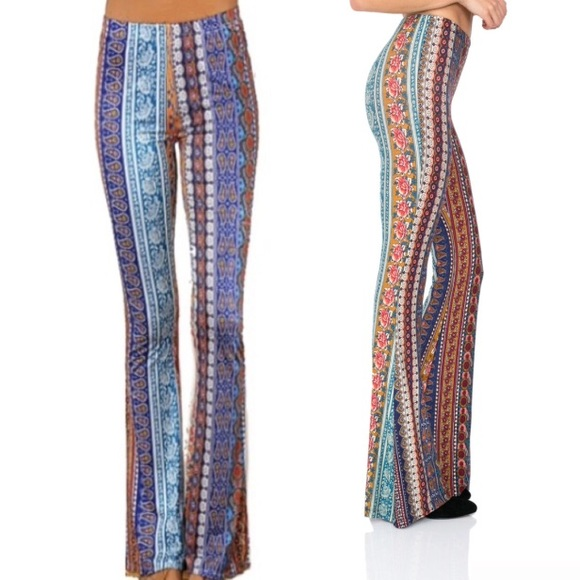 austin gal Pants - Blue Moroccan Rose JANIS Bells Stretch Flare PANTS