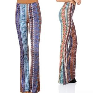 Blue Moroccan Rose JANIS Bells Stretch Flare PANTS