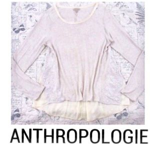 {Anthropologie} mixed media lace top