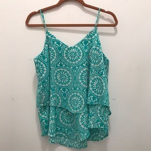 Mint and White Floral Top