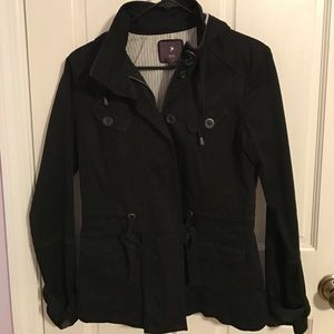Forever 21 Hooded Utility Jacket - Black