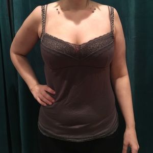 Eberjey Tops - Medium brown cami inspired tank with lace details