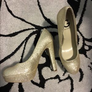G by Guess Shoes - Light Gold Glitter Platform Heels