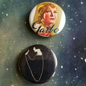 Old Hollywood Stars Set of 2 little buttons Garbo