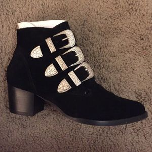 ASOS Ryder Suede Buckle Black Ankle Boots