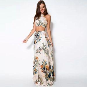 Set two pieces maxi dress halter