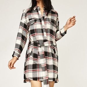 Zara Dresses & Skirts - Zara new w/tag frayed plaid dress w/ belt $35