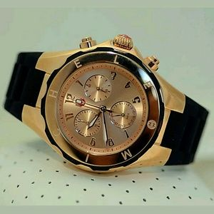 Michele  Accessories - NWT Michele black/rose gold chronograph watch