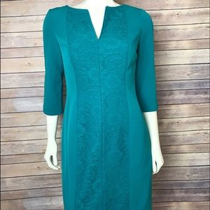 Adrianna Papell Dresses & Skirts - Adrianna Papell Teal V-Neck Lace Easter Dress
