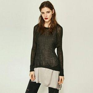 Zara Two-Toned Asymmetric Double Sweater