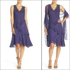 Komarov Dresses & Skirts - Komarov Embellished Chiffon A-Line Dress & Shawl