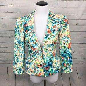 Nanette Lepore watercolor floral blazer zip