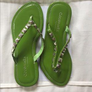 Green stud flip flops