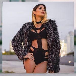 Style Link Miami Jackets & Blazers - BLACK AND GREY STRIPED COAT