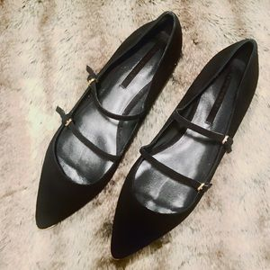 Zara double-strap Mary Jane pointy-toe flats