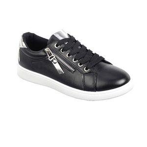 ✂️SALE || METALLIC Accented black sneakers