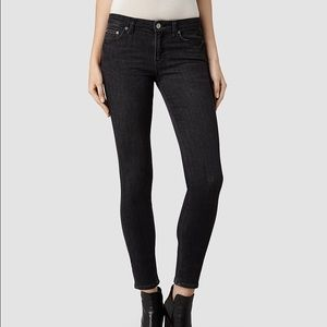 Allsaint Black Mast Skinny Jeans sz 28