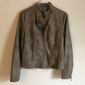 Studio M Jackets & Blazers - Stone Color Faux Leather Jacket