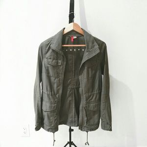 Divided Jackets & Blazers - Divided Olive Utility Jacket with Brass Hardware