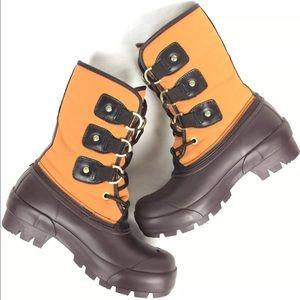 177a2b7bf99 Hunter 'Cort' Orange / Brown Rubber Duck Boots