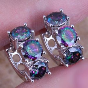 Jewelry - 925 Sterling Silver Rainbow Mystic Topaz Huggies