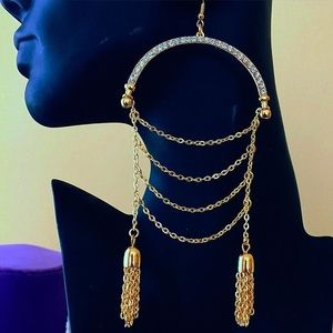 NWT Gold and crystal arced statement earrings