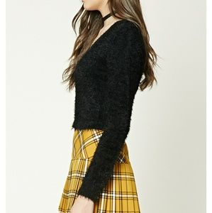 Forever 21 Sweaters - New Black Vneck Button Front Sweater Fuzzy Crop S