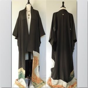 Vintage Traditional Kimono Black W/Gold & Green
