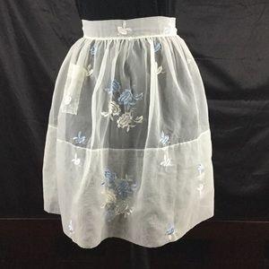 Vintage embroidered sheer apron