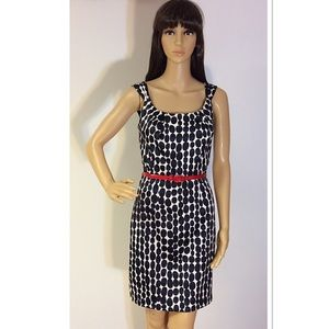 A. BYER Dresses & Skirts - A. BYER NAVY &WHITE POLKA DOT DRESS WITH RED BELT