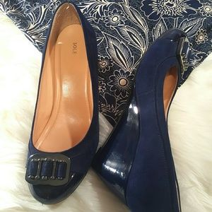 Sole Society Shoes - Sole Society Cap Toe Navy Wedges