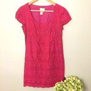 Donna Morgan Dresses & Skirts - Donna Morgan Eyelet Dress Hot Pink Size 8