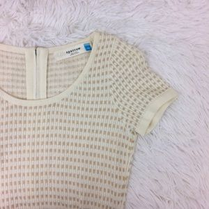 ANTHROPOLOGIE gilt grid gold+ivory sweater dress