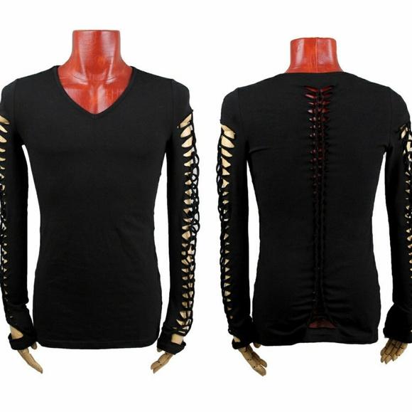 Punkrave Shirts - Black Shredded Sleeves Longsleeve Vneck Punk Shirt