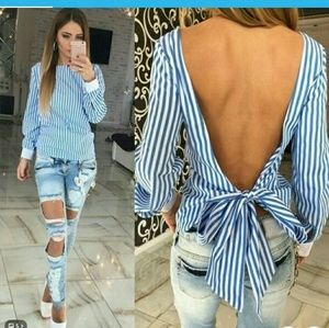 Tops - Sexy Bowknot backless striped blouse,