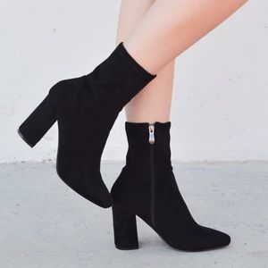 Shoes - Black Faux Suede High Ankle Boots
