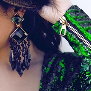Balmain x H&M Emerald Statement Earrings