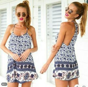 Dresses & Skirts - Floral Boho Backless Summer Dress / Halter